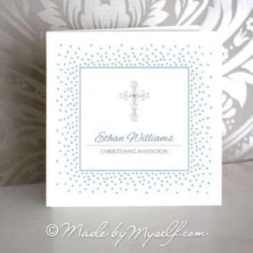Delicate Cross Christening Invitation - Boy